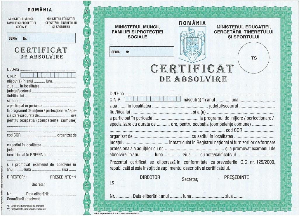 certificat de absolvire