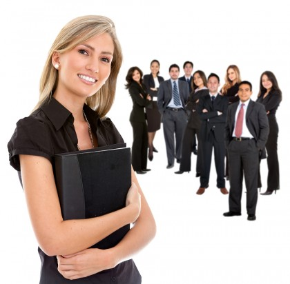 Business woman leading her team isolated on white
